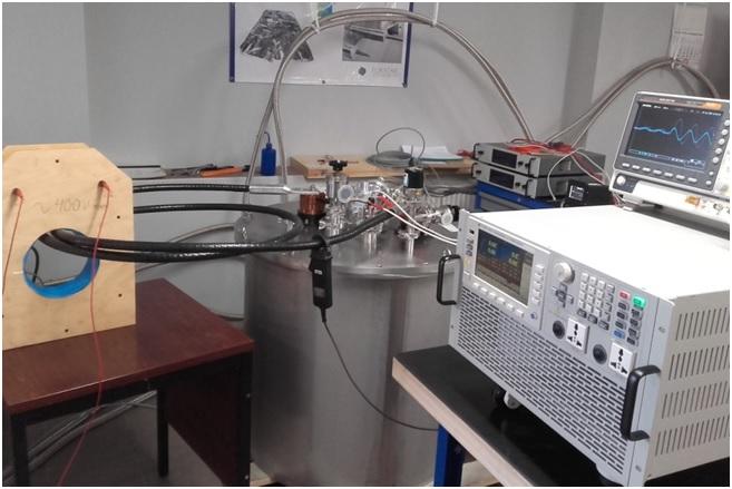Nadprzewodnikowy ogranicznik prądu zwarciowego - NOPZ na stanowisku testowym.